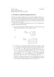 1. ¨Ubung zu Optimierungsmethoden I - Heinrich-Heine-Universität ...