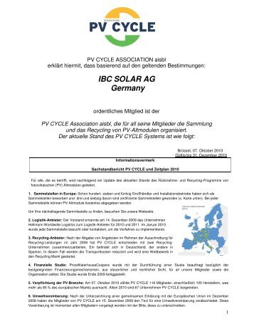 IBC SOLAR AG Germany - Josef Beck Elektro