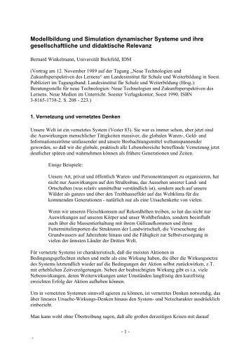 Modellbildung und Simulation dynamischer Systeme und ihre ...