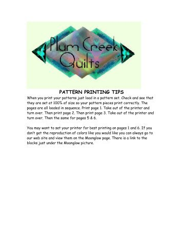 PATTERN PRINTING TIPS - Plum Creek Quilts