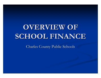 state funding - Charles County Public Schools