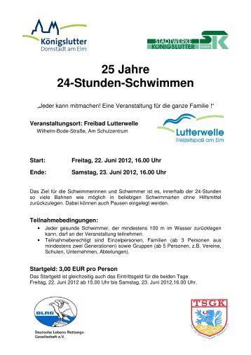 25 Jahre 24-Stunden-Schwimmen - Stadtwerke Königslutter