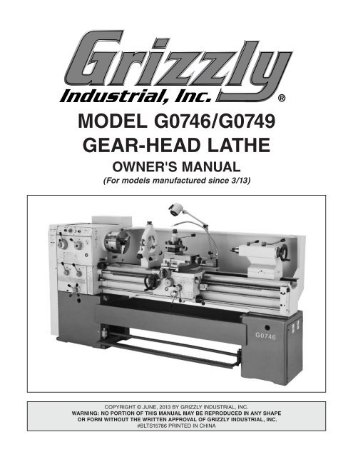 Surprising Model G0746 G0749 Gear Head Lathe Grizzly Industrial Inc Ncnpc Chair Design For Home Ncnpcorg