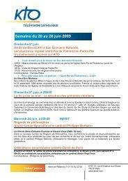 Semaine du 20 au 26 juin sur KTO