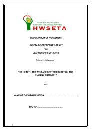 MOA For Learnerships 2012-2013 - The Health and Welfare Sector ...