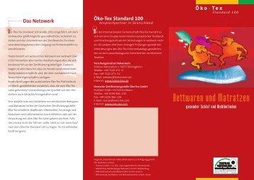 Bettwaren und Matratzen - Oeko-Tex