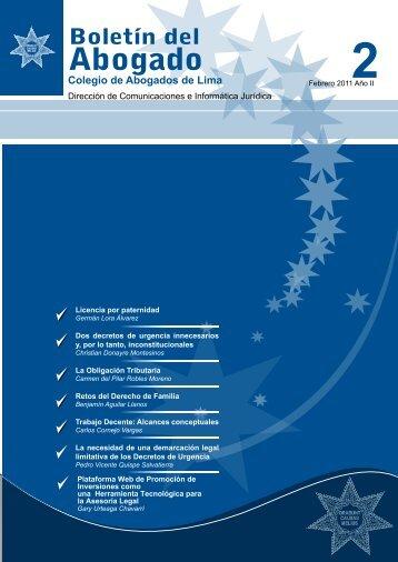 boletin del abogado 2 º edicion - febrero 2011 - Colegio de ...