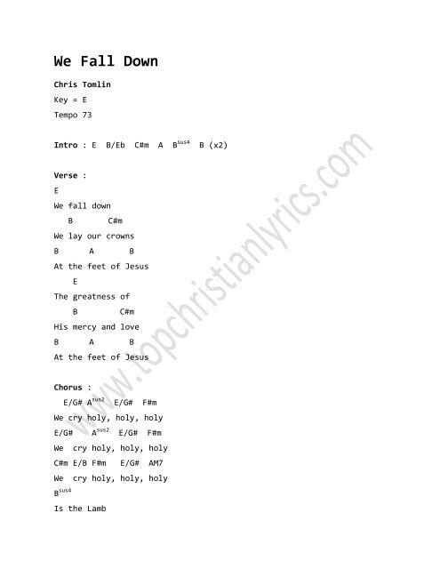 We Fall Down chords – Chris Tomlin - Christian Lyrics