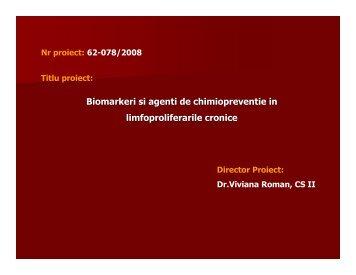 Biomarkeri si agenti de chimiopreventie in ... - Prezentare