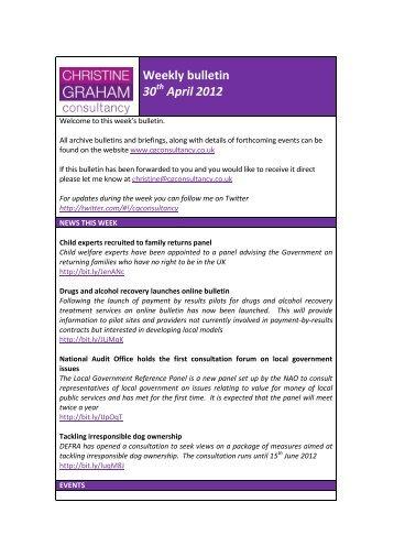Weekly bulletin 30 April 2012 - Christine Graham Consultancy