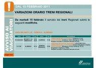 dal 15 febbraio 2011 variazioni orario treni regionali - Trenitalia