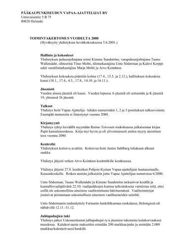 Toimintakertomus vuodelta 2000 - Pääkaupunkiseudun ateistit ry