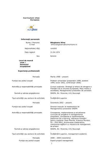 Curriculum vitae Europass Informaţii personale Nume ... - ARACIS