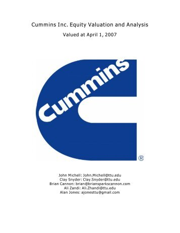 Cummins Inc. Equity Valuation and Analysis