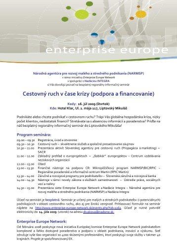 Cestovný ruch v čase krízy (podpora a financovanie) - Enterprise ...