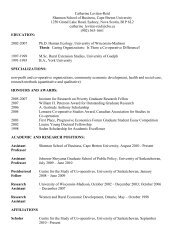 Catherine's CV - Centre for the Study of Co-operatives
