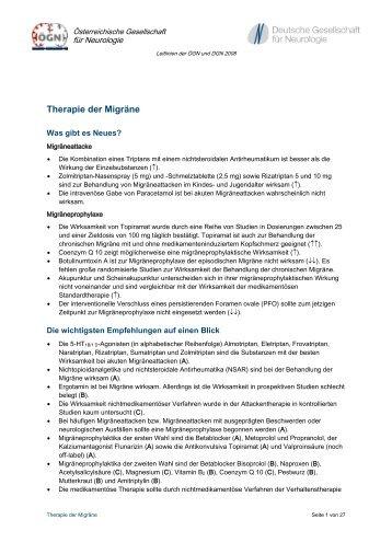 Therapie der Migräne - Österreichische Gesellschaft für Neurologie