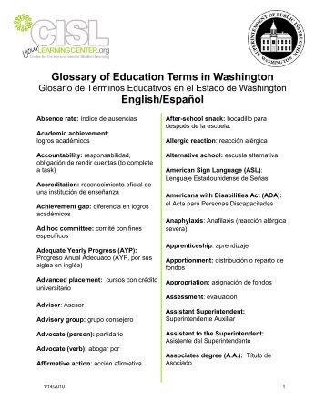 Glossary of Education Terms in Washington English/Español