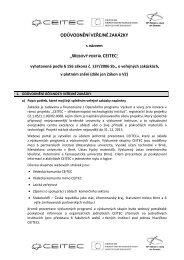 odůvodnění veřejné zakázky - E-ZAK MUNI - Masarykova univerzita