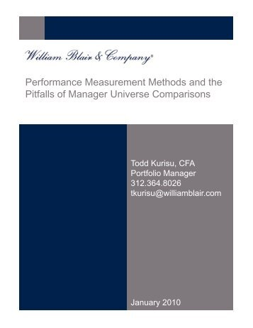 Performance Measurement Methods and the Pitfalls ... - William Blair
