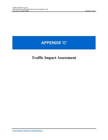 APPENDIX 'C' Traffic Impact Assessment - Northumberland County