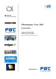 Oberaargauer Cross 2010 RANGLISTE - TV Herzogenbuchsee