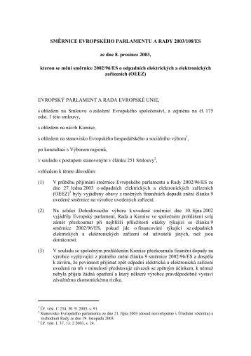 Směrnice 2003/108/ES, kterou se mění ... - ELEKTROWIN, as