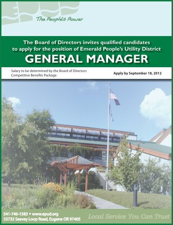 GENERAL MANAGER - Emerald People's Utility District