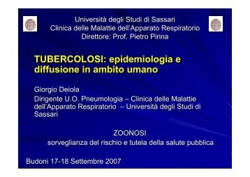 TUBERCOLOSI: epidemiologia e diffusione in ambito ... - Asl Olbia