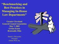 Benchmarking and Best Practices in Managing In ... - Altman Weil
