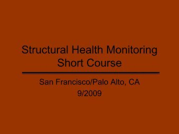 Structural Health Monitoring Short Course