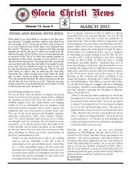 March 2013 Newsletter (PDF) - Gloria Christi Lutheran Church