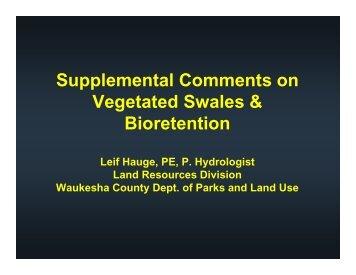 Bioretention & Swale Comments - Waukesha County