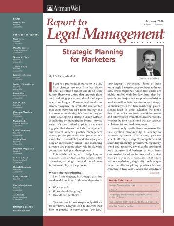 Strategic Planning for Marketers - Altman Weil