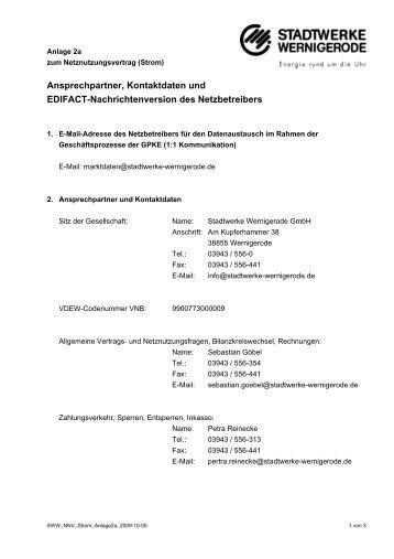 Ansprechpartner, Kontaktdaten und EDIFACT-Nachrichtenversion des
