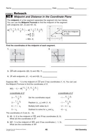 1-6 Reteach Midpoint and Distance in the Coordinate Plane