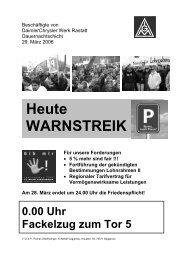 Warnstreikaufruf DC Rastatt - IG Metall Gaggenau
