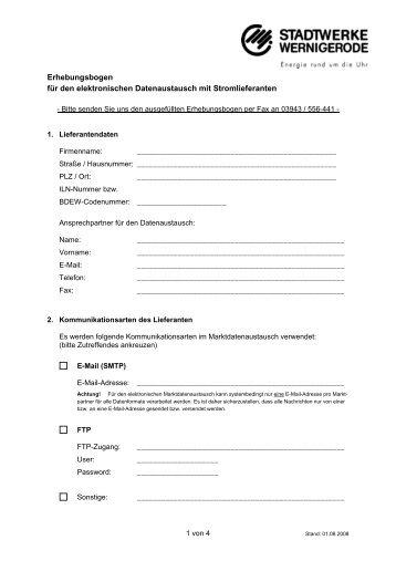 Erhebungsbogen der Stadtwerke Wernigerode GmbH für den