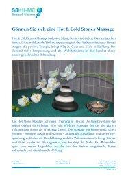 Gönnen Sie sich eine Hot Cold Stones Massage - Reuss24.ch
