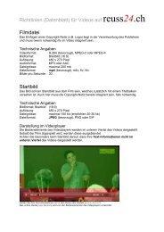 Richtlinien (Datenblatt) für Videos auf reuss24.ch Filmdatei Startbild