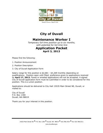 City of Duvall Seasonal Worker, Temporary (2 positions ...