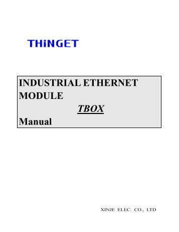 INDUSTRIAL ETHERNET MODULE TBOX Manual - Imenista Andish ...