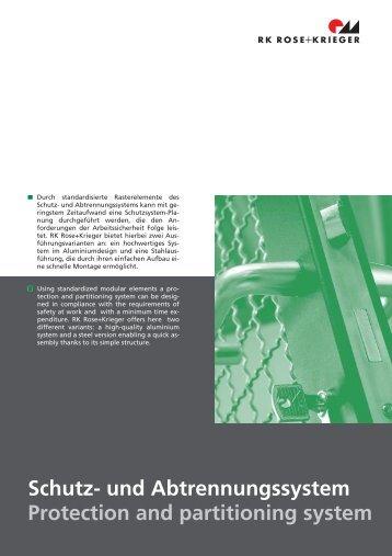 Schutz- und Abtrennungssystem Protection and partitioning system