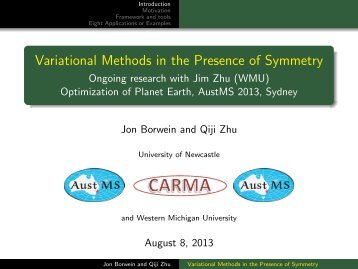 Variational Methods in the Presence of Symmetry - CARMA ...