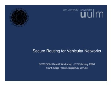 Secure Routing for Vehicular Networks - Sevecom
