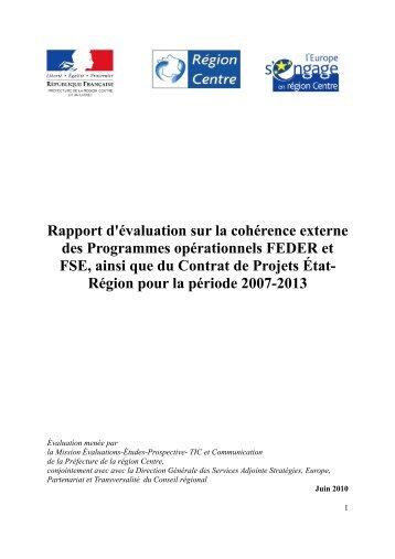 Rapport d'évaluation sur la cohérence externe des Programmes ...
