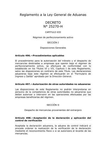 Reglamento a la Ley General de Aduanas DECRETO N ... - Procomer