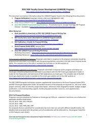 2012 NSF Faculty Career Development (CAREER) Program
