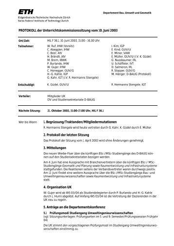 Sitzung 3/03 vom 10.06.03 - Departement Bau, Umwelt und Geomatik