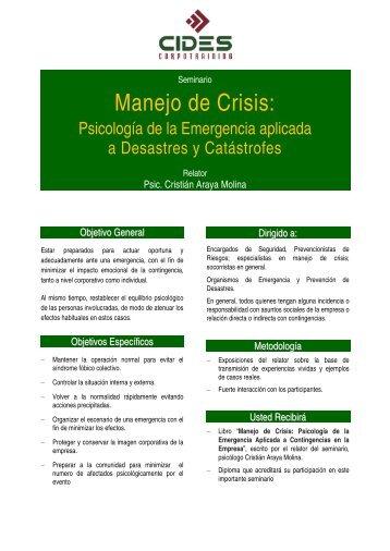 SINDROME POST EMERGENCIA (Primeros Auxilios Psicológicos)
